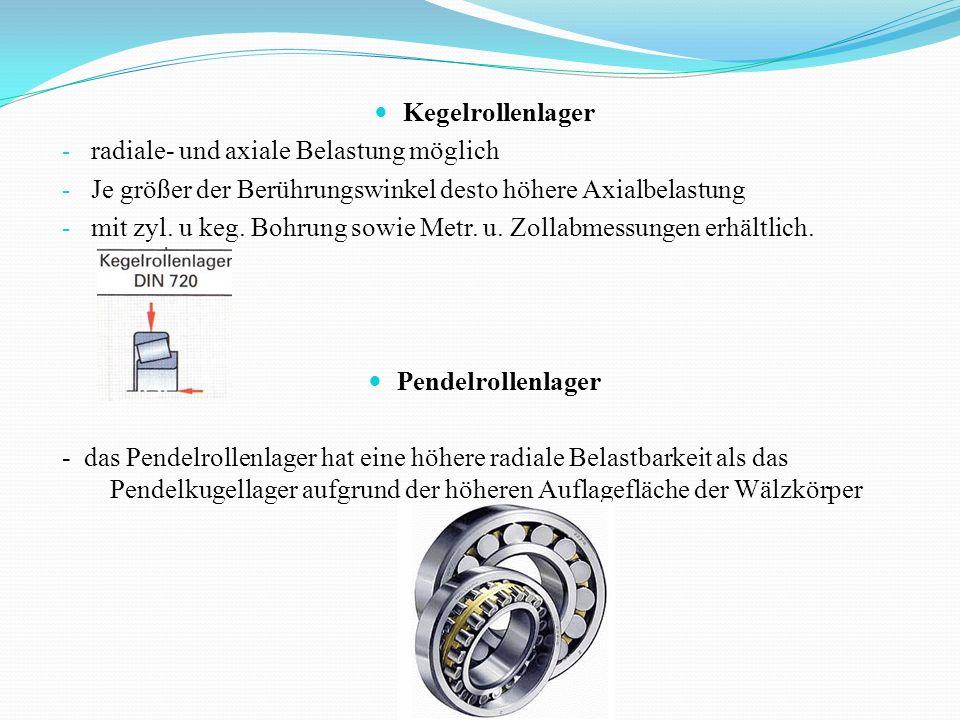 Kegelrollenlager - radiale- und axiale Belastung möglich - Je größer der Berührungswinkel desto höhere Axialbelastung - mit zyl. u keg. Bohrung sowie