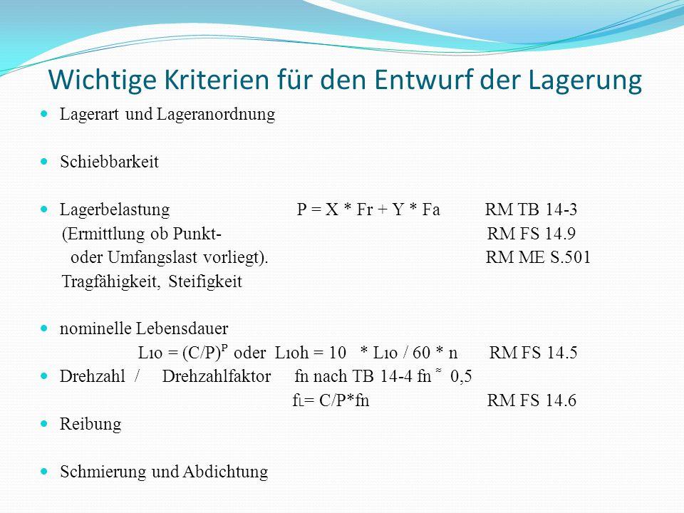 Wichtige Kriterien für den Entwurf der Lagerung Lagerart und Lageranordnung Schiebbarkeit Lagerbelastung P = X * Fr + Y * Fa RM TB 14-3 (Ermittlung ob
