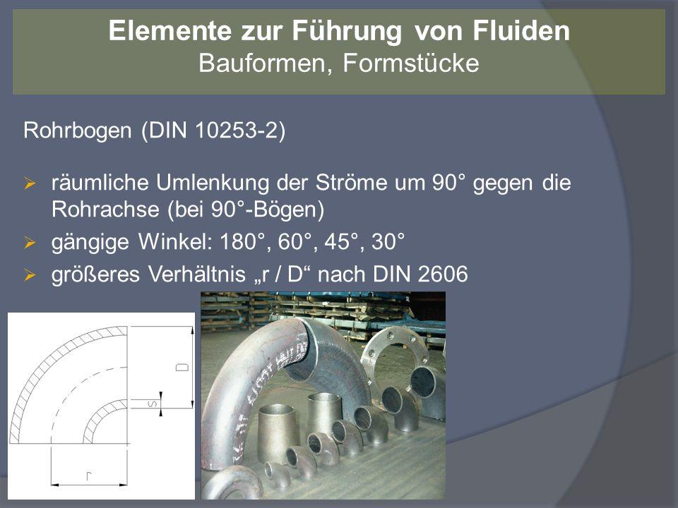 Rohrbogen (DIN 10253-2) räumliche Umlenkung der Ströme um 90° gegen die Rohrachse (bei 90°-Bögen) gängige Winkel: 180°, 60°, 45°, 30° größeres Verhält