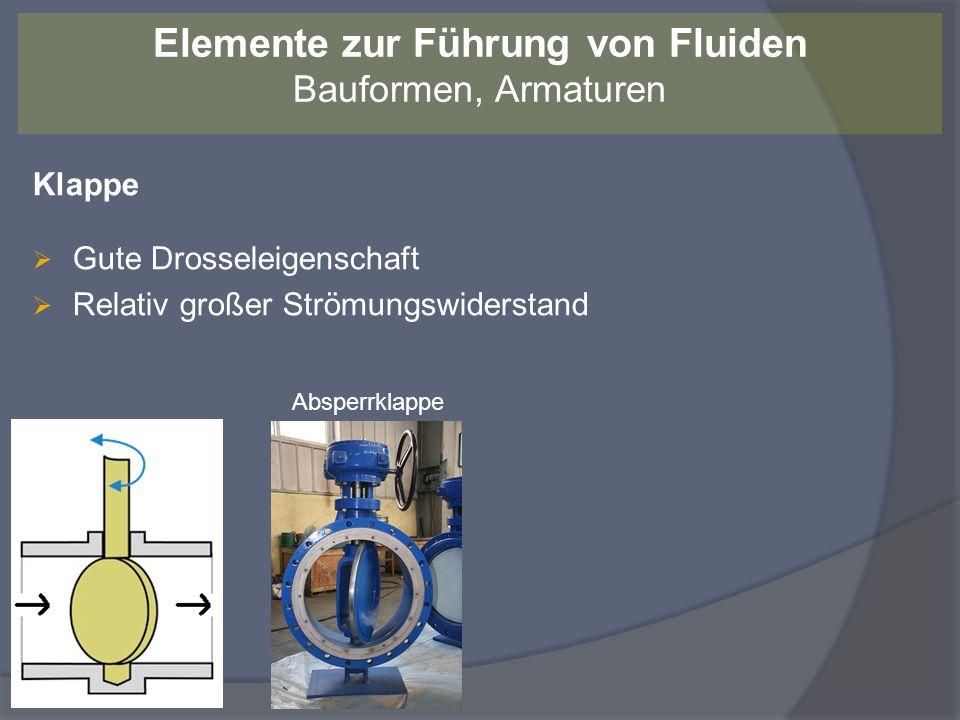 Richtlinien zur Auswahl der Armaturen Elemente zur Führung von Fluiden Bauformen, Armaturen