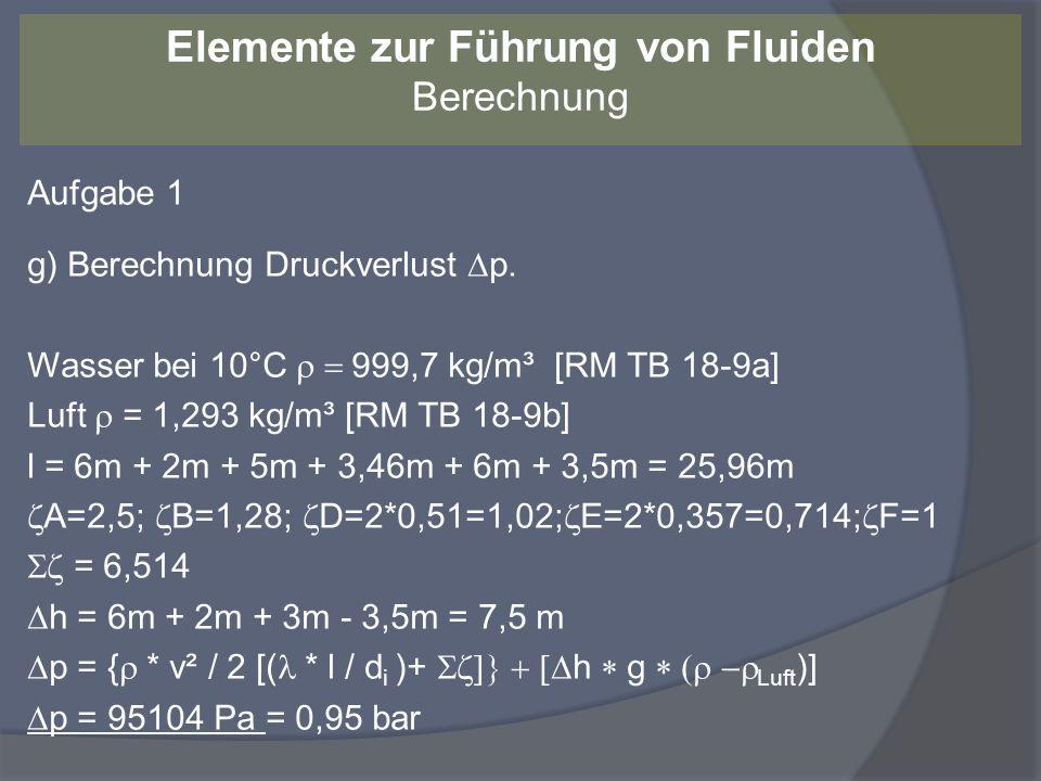 Aufgabe 1 h) Mindestpumpenleistung Wirkungsgrad an der Welle = 0,85 P el = ( p * V.) / P el = (95104 Pa * 0,0069m³/s) / 0,85 P el = 0,77 kW Elemente zur Führung von Fluiden Berechnung