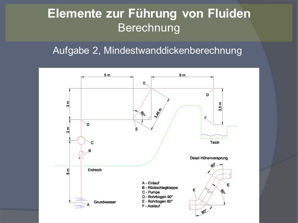 Aufgabe 2 – Mindestwanddickenberechnung t min = t v + c 1 + c 2 [RM FS 18.18] Für t v: d a / d i = 88,9 mm / 82,5 mm = 1,08 < 1,7 [RM FS 18.20] t v = p e * d a / (2 * zul * N + p e ) zul = min 150 N/mm² [RM FS 18.21 unter Hinweis] N = 1 (Schweißnahtfaktor bei 100%-Prüfung) t v = 0,095 N/mm² * 88,9 mm / (2 * 150 N/mm² * 1 + 0,095 N/mm2) t v = 0,02 mm Elemente zur Führung von Fluiden Berechnung