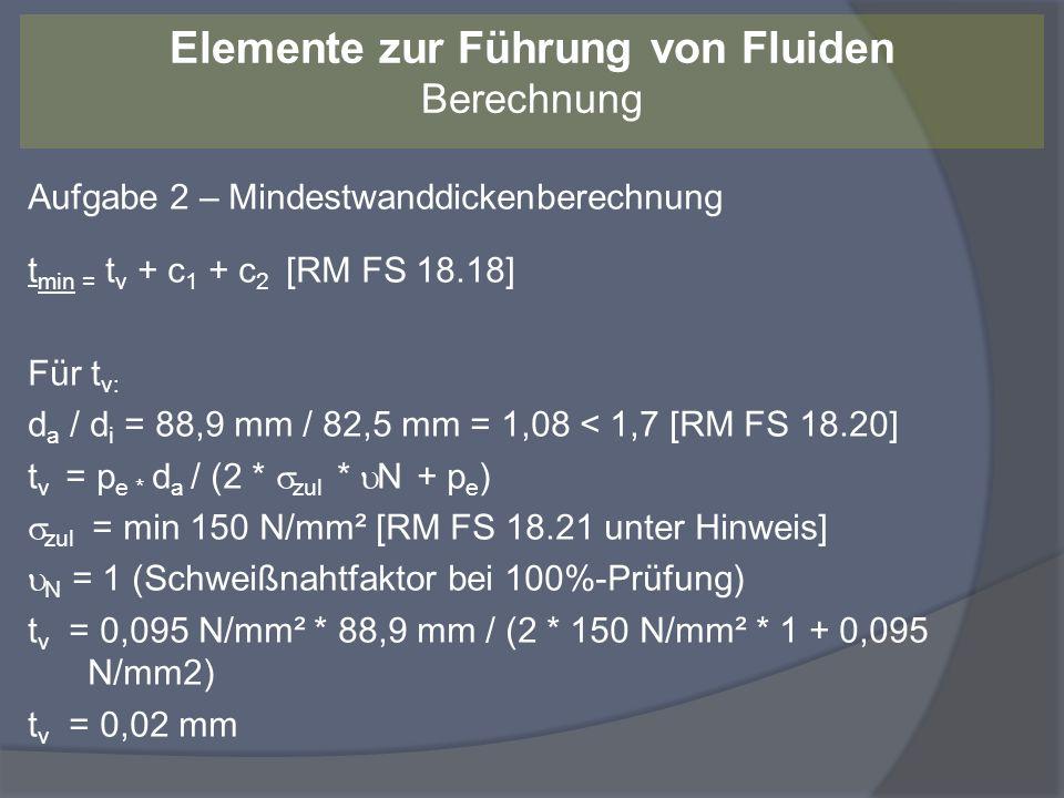 Aufgabe 2 – Mindestwanddickenberechnung Für c 1 : c 1 = 0,4 mm (Werte gleich bei RM FS 18.18 und RM FS 18.19) Für c 2 : c 2 = 1 mm (Korrosionszuschlag für ferritischen Stahl) t min = t v + c 1 + c 2 = 0,02 mm + 0,4 mm + 1 mm = 1,42 mm t / t min = 3,2 mm / 1,42 mm = 2,25-fache Sicherheit.