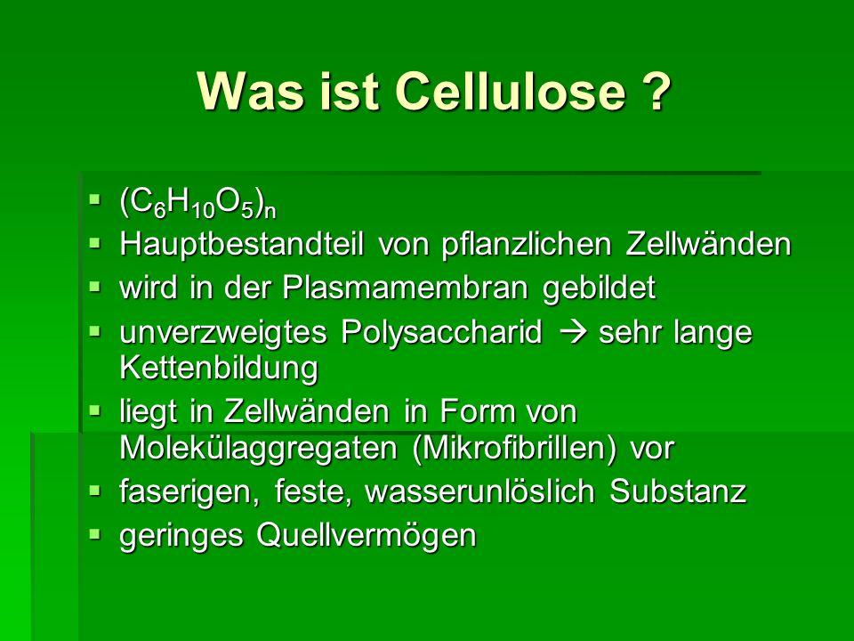 Bedeutung der Cellulose für die Ernährung Ballaststoff Ballaststoff nur wenige Mikroorganismen besitzen Enzyme, die den Abbau der Cellulose katalysieren nur wenige Mikroorganismen besitzen Enzyme, die den Abbau der Cellulose katalysieren wird auch in der Nahrungsmittel- und Pharmaindustrie verwendet wird auch in der Nahrungsmittel- und Pharmaindustrie verwendet als Lebensmittelzusatzstoff trägt sie die Bezeichnungen E 460 - E 466: als Lebensmittelzusatzstoff trägt sie die Bezeichnungen E 460 - E 466: E 460 Mikrokristalline Cellulose E 460 Mikrokristalline Cellulose E 461-466 Modifizierte Cellulose E 461-466 Modifizierte Cellulose