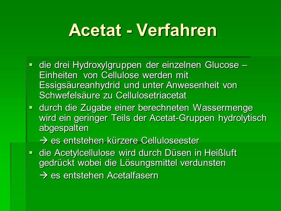 Acetat - Verfahren die drei Hydroxylgruppen der einzelnen Glucose – Einheiten von Cellulose werden mit Essigsäureanhydrid und unter Anwesenheit von Sc