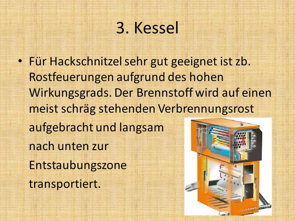 3. Kessel Für Hackschnitzel sehr gut geeignet ist zb. Rostfeuerungen aufgrund des hohen Wirkungsgrads. Der Brennstoff wird auf einen meist schräg steh