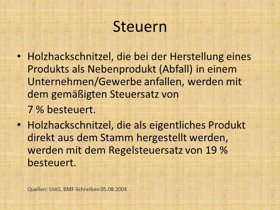 Steuern Holzhackschnitzel, die bei der Herstellung eines Produkts als Nebenprodukt (Abfall) in einem Unternehmen/Gewerbe anfallen, werden mit dem gemä