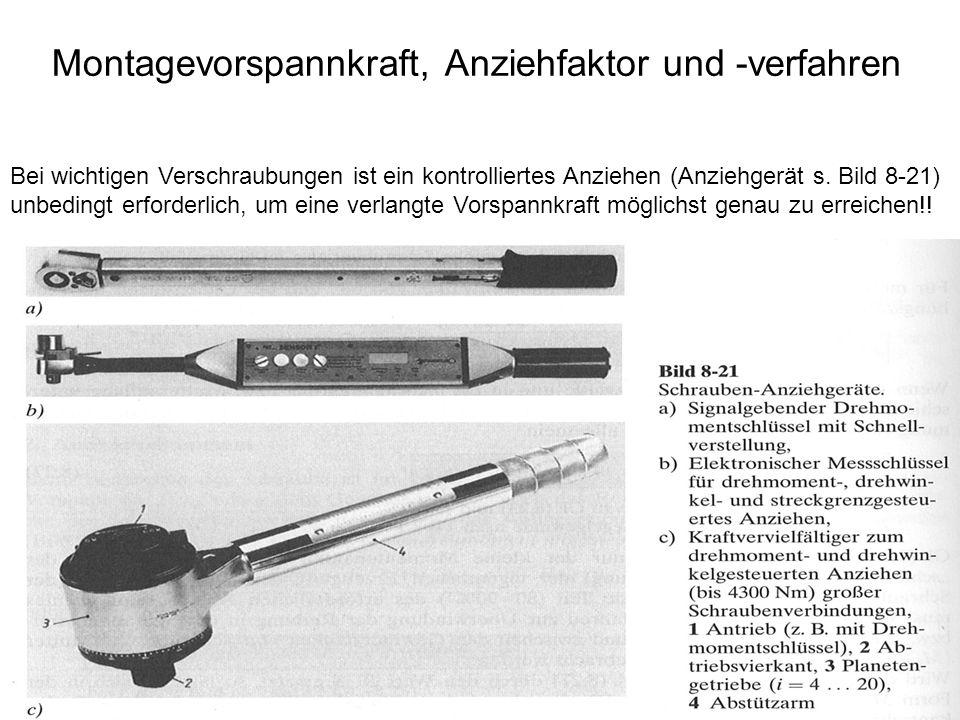 Montagevorspannkraft, Anziehfaktor und -verfahren Bei wichtigen Verschraubungen ist ein kontrolliertes Anziehen (Anziehgerät s. Bild 8-21) unbedingt e