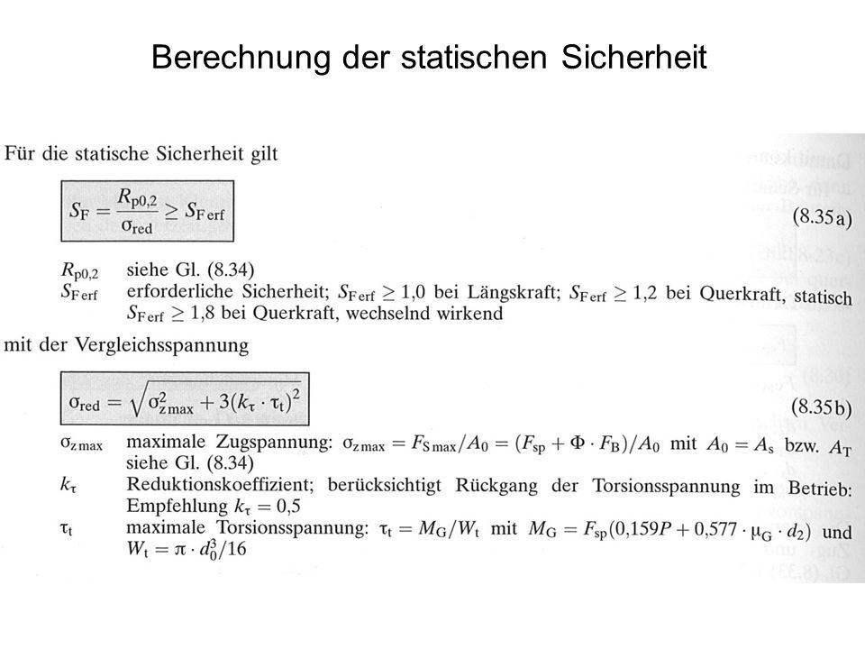 Berechnung der statischen Sicherheit