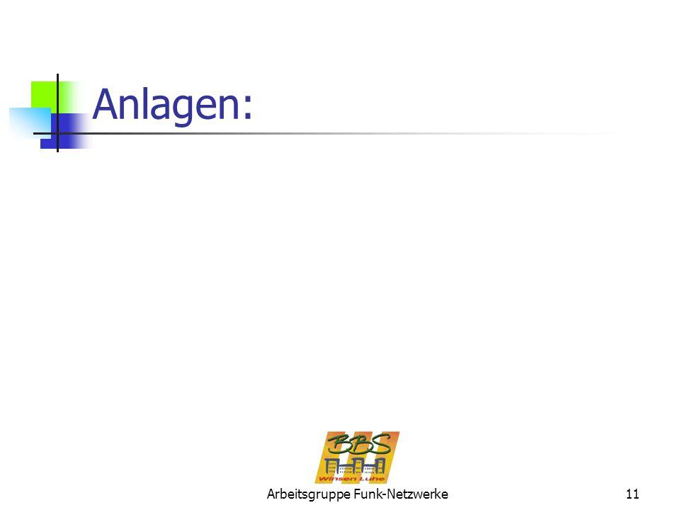 Arbeitsgruppe Funk-Netzwerke11 Anlagen: