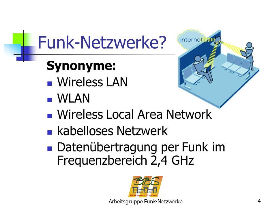 Arbeitsgruppe Funk-Netzwerke4 Synonyme: Wireless LAN WLAN Wireless Local Area Network kabelloses Netzwerk Datenübertragung per Funk im Frequenzbereich