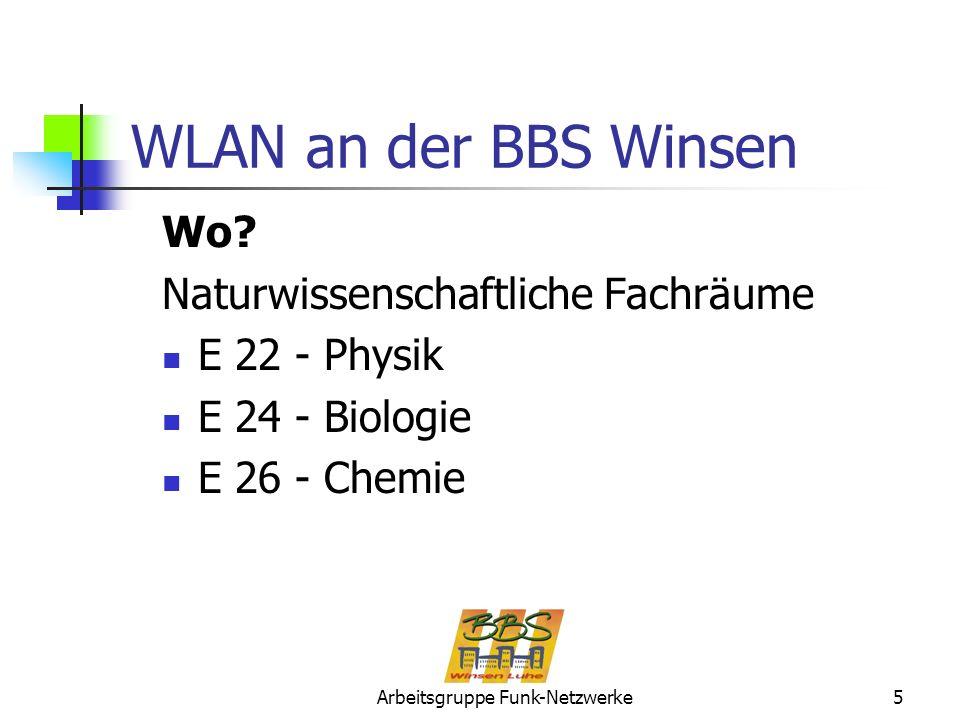 Arbeitsgruppe Funk-Netzwerke5 WLAN an der BBS Winsen Wo? Naturwissenschaftliche Fachräume E 22 - Physik E 24 - Biologie E 26 - Chemie