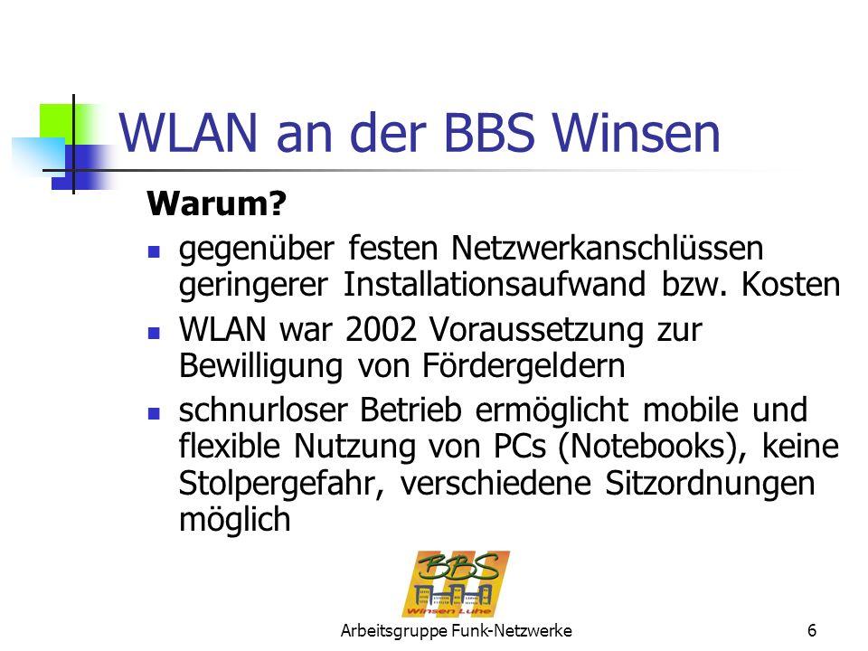 Arbeitsgruppe Funk-Netzwerke6 WLAN an der BBS Winsen Warum? gegenüber festen Netzwerkanschlüssen geringerer Installationsaufwand bzw. Kosten WLAN war