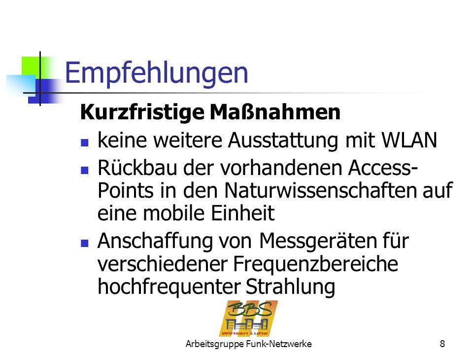 Arbeitsgruppe Funk-Netzwerke8 Empfehlungen Kurzfristige Maßnahmen keine weitere Ausstattung mit WLAN Rückbau der vorhandenen Access- Points in den Nat