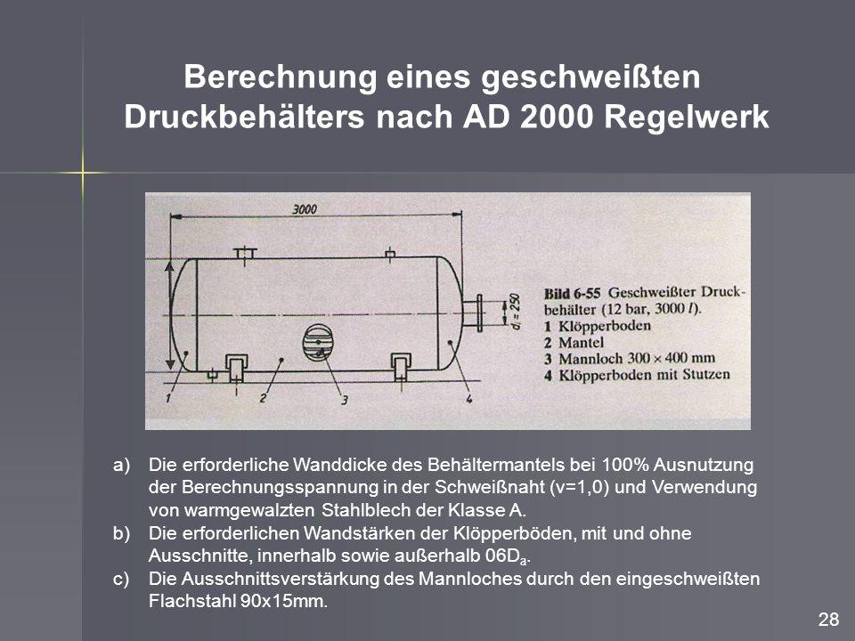 Berechnung eines geschweißten Druckbehälters nach AD 2000 Regelwerk a)Die erforderliche Wanddicke des Behältermantels bei 100% Ausnutzung der Berechnu
