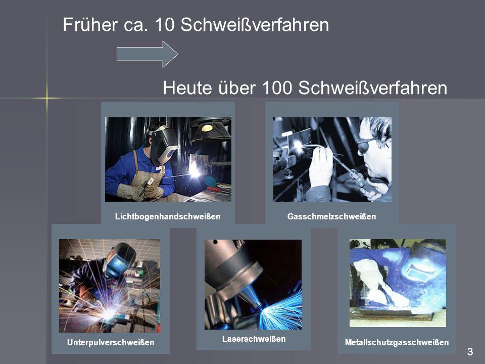 Früher ca. 10 Schweißverfahren Heute über 100 Schweißverfahren 3 GasschmelzschweißenLaserschweißenLichtbogenhandschweißen MetallschutzgasschweißenUnte