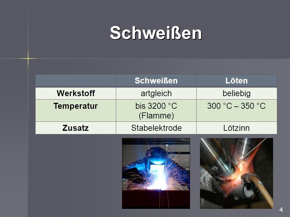 Schweißen 4 SchweißenLöten Werkstoffartgleichbeliebig Temperaturbis 3200 °C (Flamme) 300 °C – 350 °C ZusatzStabelektrodeLötzinn
