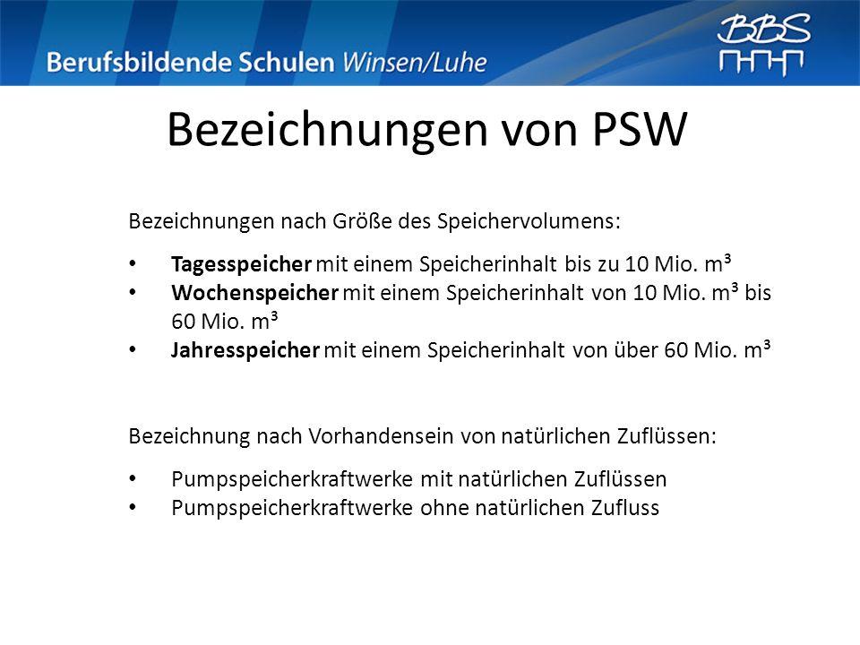 Bezeichnungen von PSW Bezeichnungen nach Größe des Speichervolumens: Tagesspeicher mit einem Speicherinhalt bis zu 10 Mio. m³ Wochenspeicher mit einem