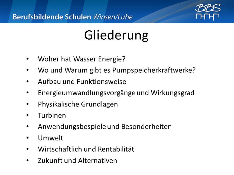 Gliederung Woher hat Wasser Energie? Wo und Warum gibt es Pumpspeicherkraftwerke? Aufbau und Funktionsweise Energieumwandlungsvorgänge und Wirkungsgra