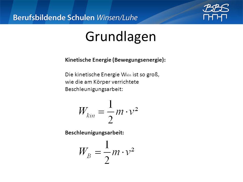 Grundlagen Kinetische Energie (Bewegungsenergie): Die kinetische Energie W kin ist so groß, wie die am Körper verrichtete Beschleunigungsarbeit: Besch
