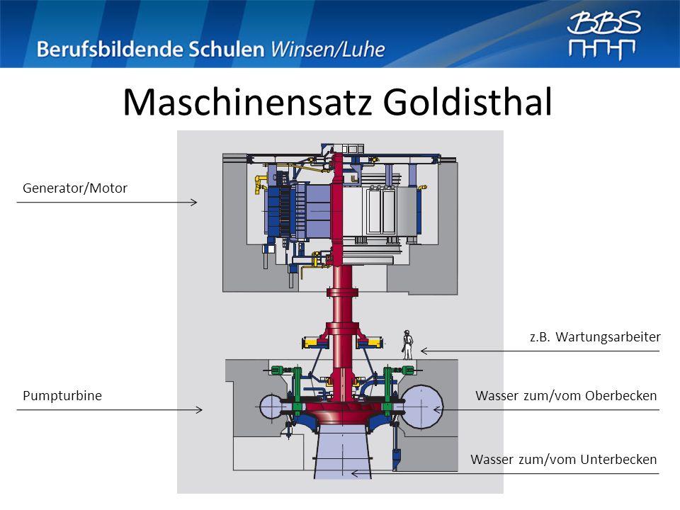 Maschinensatz Goldisthal Generator/Motor Pumpturbine z.B. Wartungsarbeiter Wasser zum/vom Oberbecken Wasser zum/vom Unterbecken