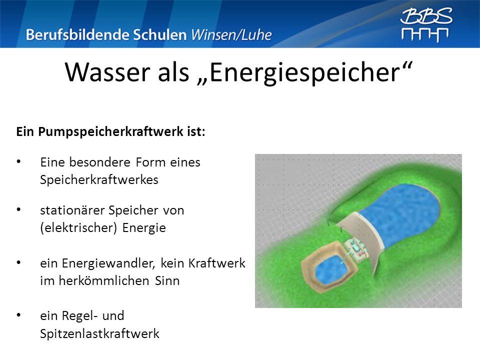 Wasser als Energiespeicher Ein Pumpspeicherkraftwerk ist: Eine besondere Form eines Speicherkraftwerkes stationärer Speicher von (elektrischer) Energi