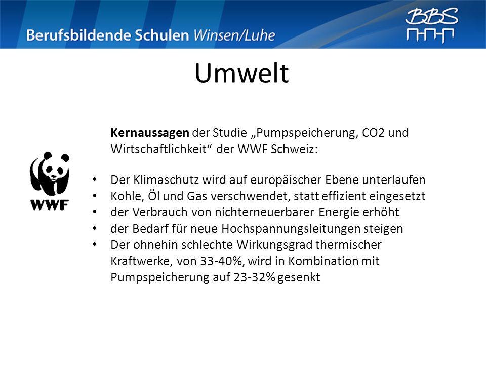 Umwelt Kernaussagen der Studie Pumpspeicherung, CO2 und Wirtschaftlichkeit der WWF Schweiz: Der Klimaschutz wird auf europäischer Ebene unterlaufen Ko