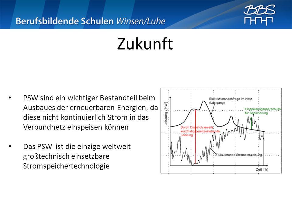Zukunft PSW sind ein wichtiger Bestandteil beim Ausbaues der erneuerbaren Energien, da diese nicht kontinuierlich Strom in das Verbundnetz einspeisen