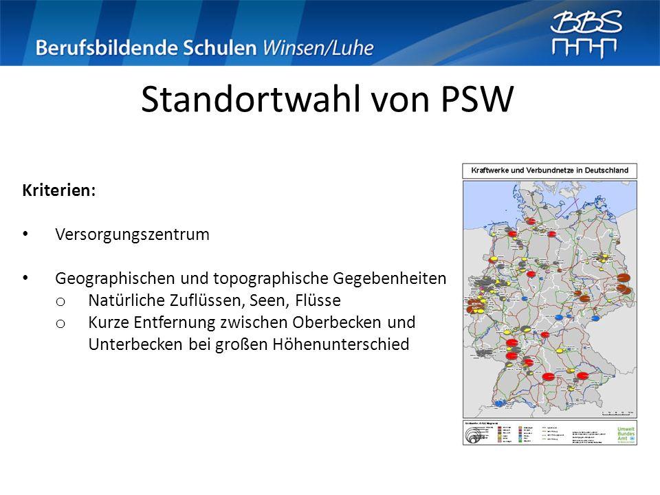 Standortwahl von PSW Kriterien: Versorgungszentrum Geographischen und topographische Gegebenheiten o Natürliche Zuflüssen, Seen, Flüsse o Kurze Entfer