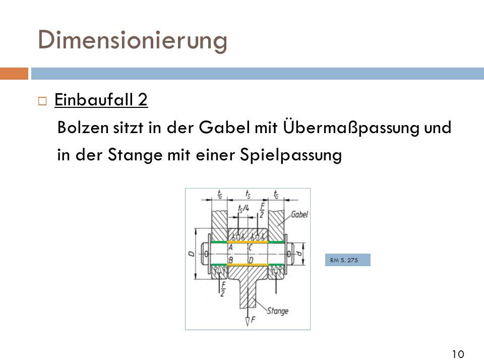 Dimensionierung Einbaufall 2 Bolzen sitzt in der Gabel mit Übermaßpassung und in der Stange mit einer Spielpassung RM S. 275 10