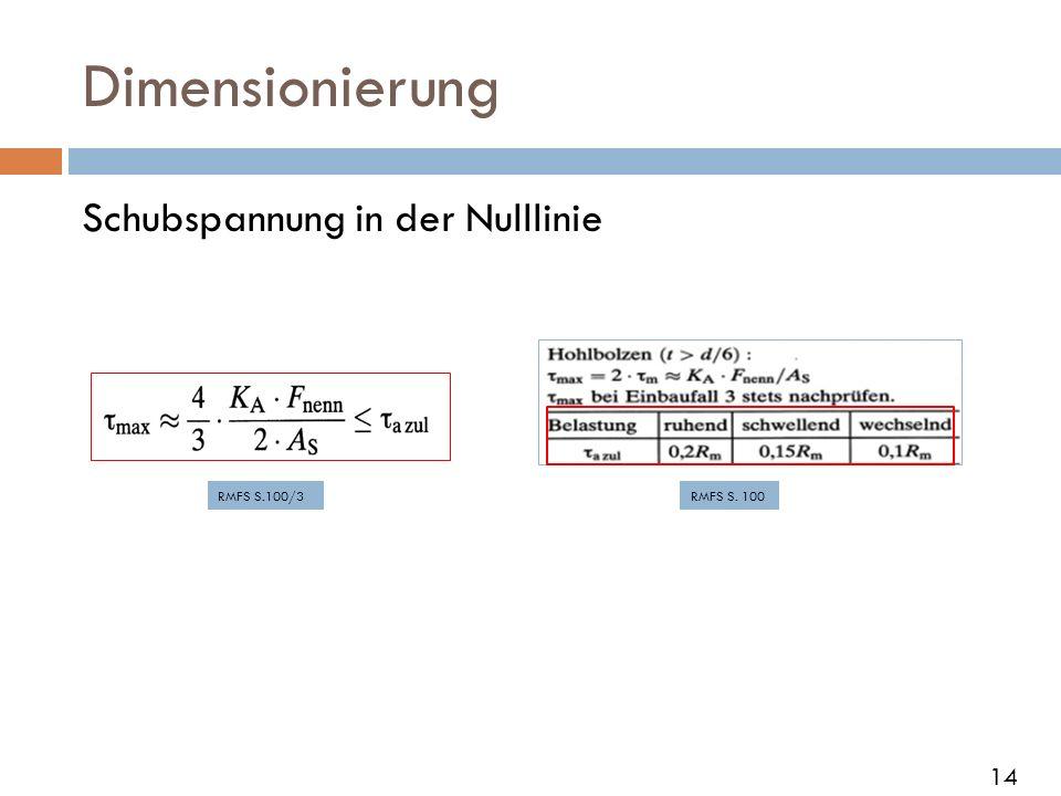 Dimensionierung Schubspannung in der Nulllinie RMFS S.100/3RMFS S. 100 14