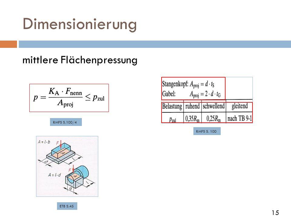 Dimensionierung mittlere Flächenpressung RMFS S.100/4 RMFS S. 100 ETB S.45 15