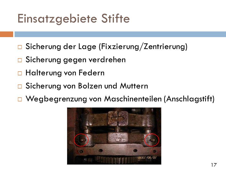 Einsatzgebiete Stifte Sicherung der Lage (Fixzierung/Zentrierung) Sicherung gegen verdrehen Halterung von Federn Sicherung von Bolzen und Muttern Wegb