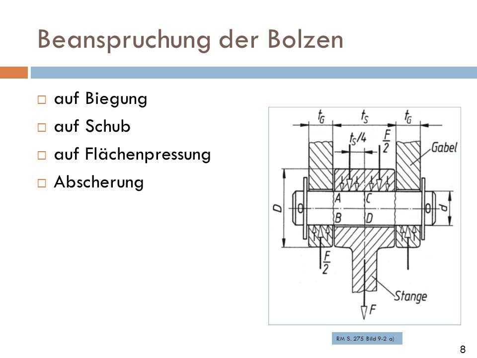 Beanspruchung der Bolzen auf Biegung auf Schub auf Flächenpressung Abscherung RM S. 275 Bild 9-2 a) 8