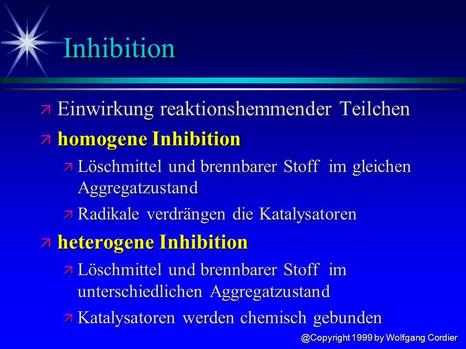 @Copyright 1999 by Wolfgang Cordier Abkühlen ä Veränderung der Reaktionsgeschwindigkeit van t Hoffsche Regel ä je 10°C Temperaturabweichung verändert sich die Reaktionsgeschwindigkeit um das doppelte bis dreifache
