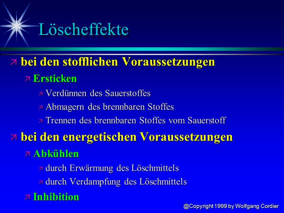 @Copyright 1999 by Wolfgang Cordier Löscheffekte ä bei den stofflichen Voraussetzungen ä Ersticken ä Verdünnen des Sauerstoffes ä Abmagern des brennbaren Stoffes ä Trennen des brennbaren Stoffes vom Sauerstoff ä bei den energetischen Voraussetzungen ä Abkühlen ä durch Erwärmung des Löschmittels ä durch Verdampfung des Löschmittels ä Inhibition
