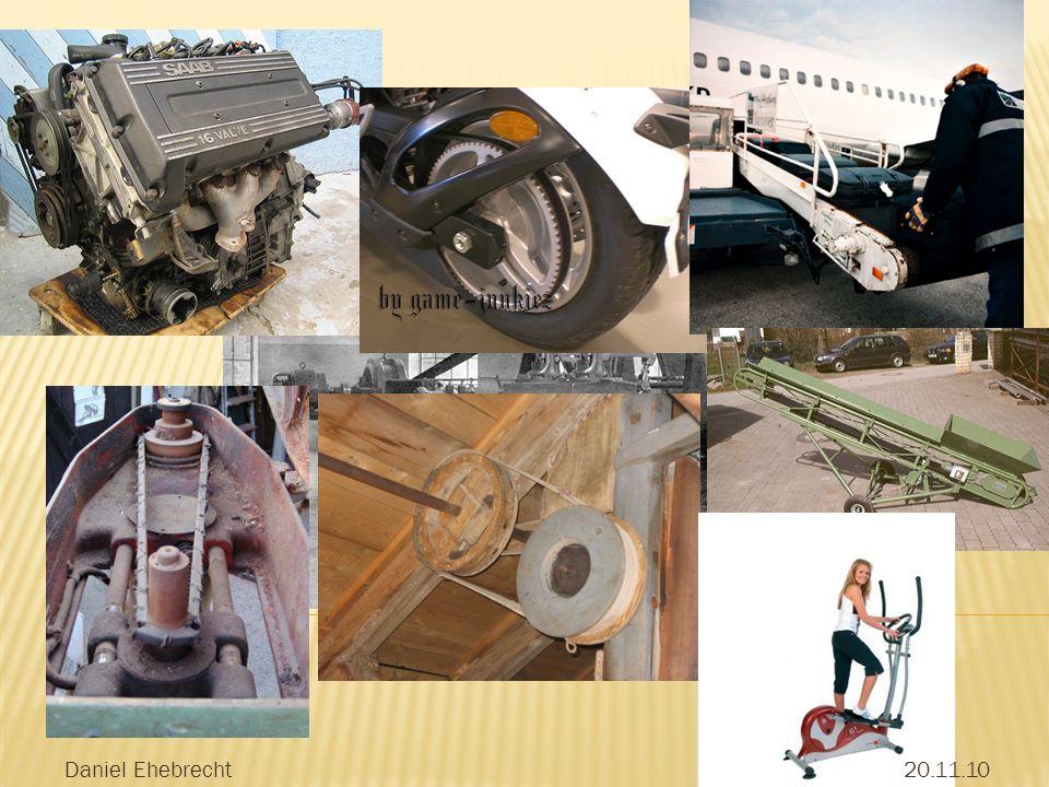 Reib- oder formschlüssige Momentenübertragung über ein biegeweiches, elastisches Zugmittel (Riemen), zwischen zwei oder mehreren Wellen neben Lastübertragung werden Flachriemen als Transportgurt eingesetzt.