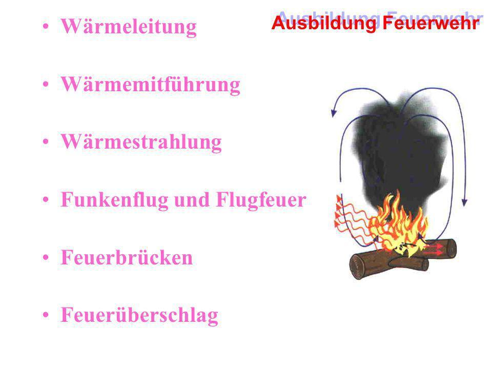 Ausbildung Feuerwehr Wärmeleitung Wärmemitführung Wärmestrahlung Funkenflug und Flugfeuer Feuerbrücken Feuerüberschlag
