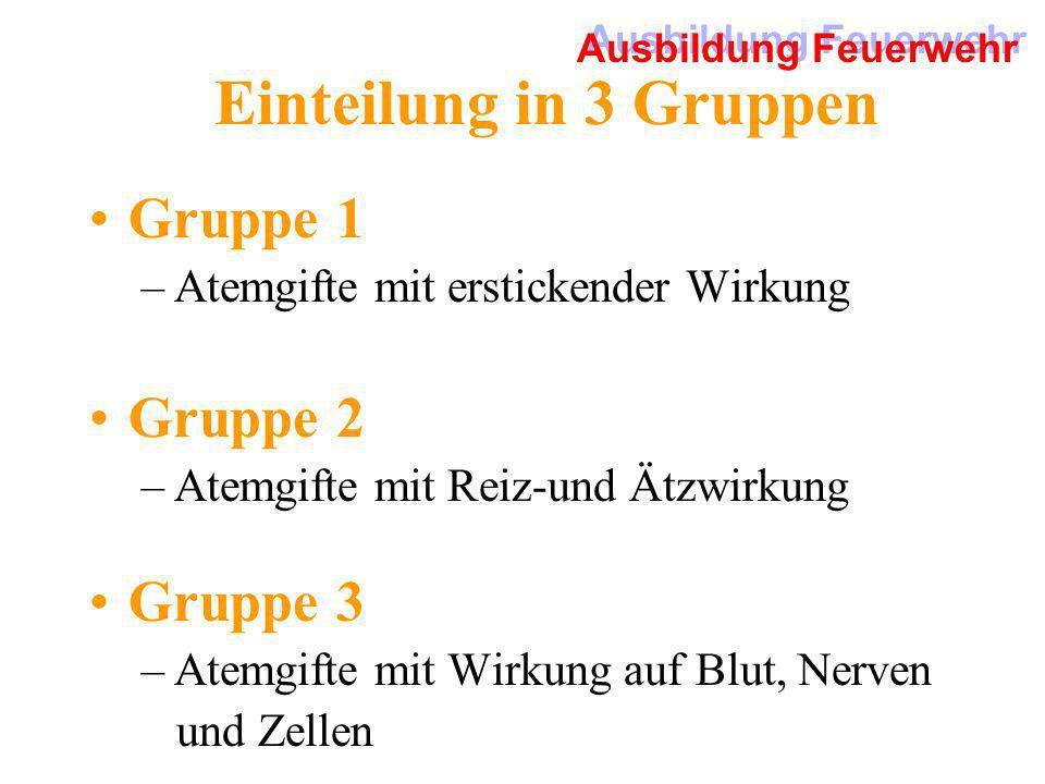 Einteilung in 3 Gruppen Gruppe 1 –Atemgifte mit erstickender Wirkung Gruppe 2 –Atemgifte mit Reiz-und Ätzwirkung Gruppe 3 –Atemgifte mit Wirkung auf B