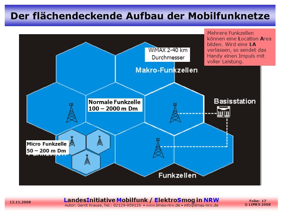 LandesInitiative Mobilfunk / ElektroSmog in NRW Autor: Gerrit Krause, Tel.: 02129-959126 www.limes-nrw.de info@limes-nrw.de 13.11.2008 Folie: 17 © LIM