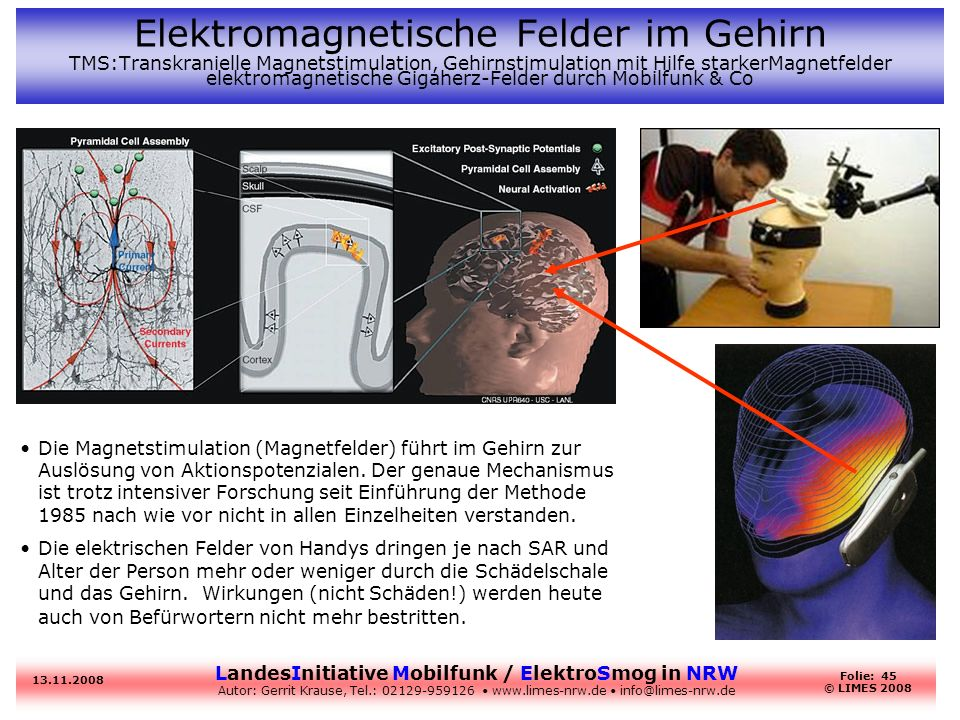 LandesInitiative Mobilfunk / ElektroSmog in NRW Autor: Gerrit Krause, Tel.: 02129-959126 www.limes-nrw.de info@limes-nrw.de 13.11.2008 Folie: 45 © LIM