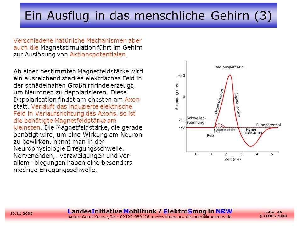 LandesInitiative Mobilfunk / ElektroSmog in NRW Autor: Gerrit Krause, Tel.: 02129-959126 www.limes-nrw.de info@limes-nrw.de 13.11.2008 Folie: 46 © LIM