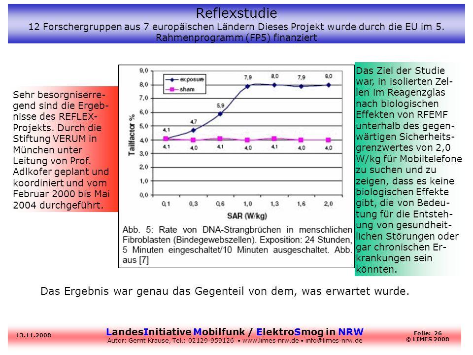 LandesInitiative Mobilfunk / ElektroSmog in NRW Autor: Gerrit Krause, Tel.: 02129-959126 www.limes-nrw.de info@limes-nrw.de 13.11.2008 Folie: 26 © LIM