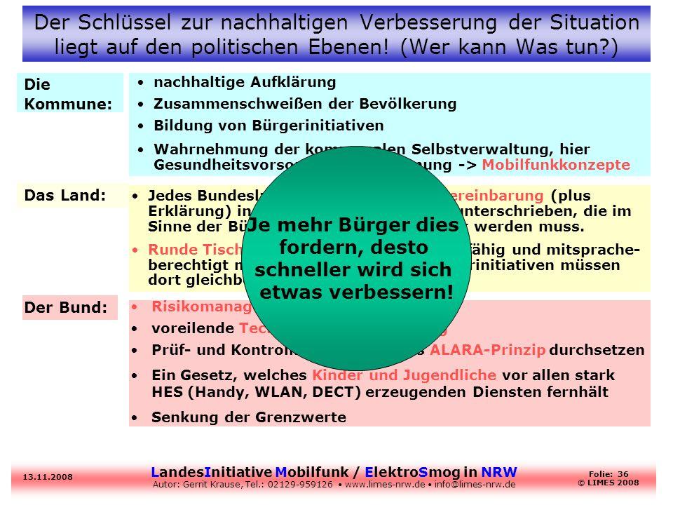 LandesInitiative Mobilfunk / ElektroSmog in NRW Autor: Gerrit Krause, Tel.: 02129-959126 www.limes-nrw.de info@limes-nrw.de 13.11.2008 Folie: 36 © LIM
