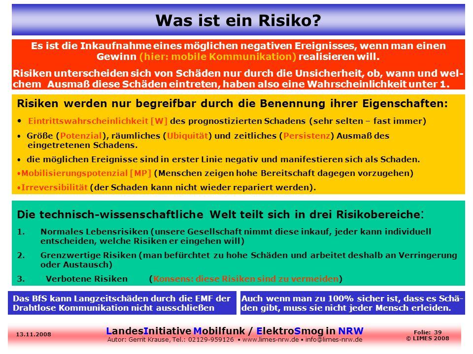 LandesInitiative Mobilfunk / ElektroSmog in NRW Autor: Gerrit Krause, Tel.: 02129-959126 www.limes-nrw.de info@limes-nrw.de 13.11.2008 Folie: 39 © LIM