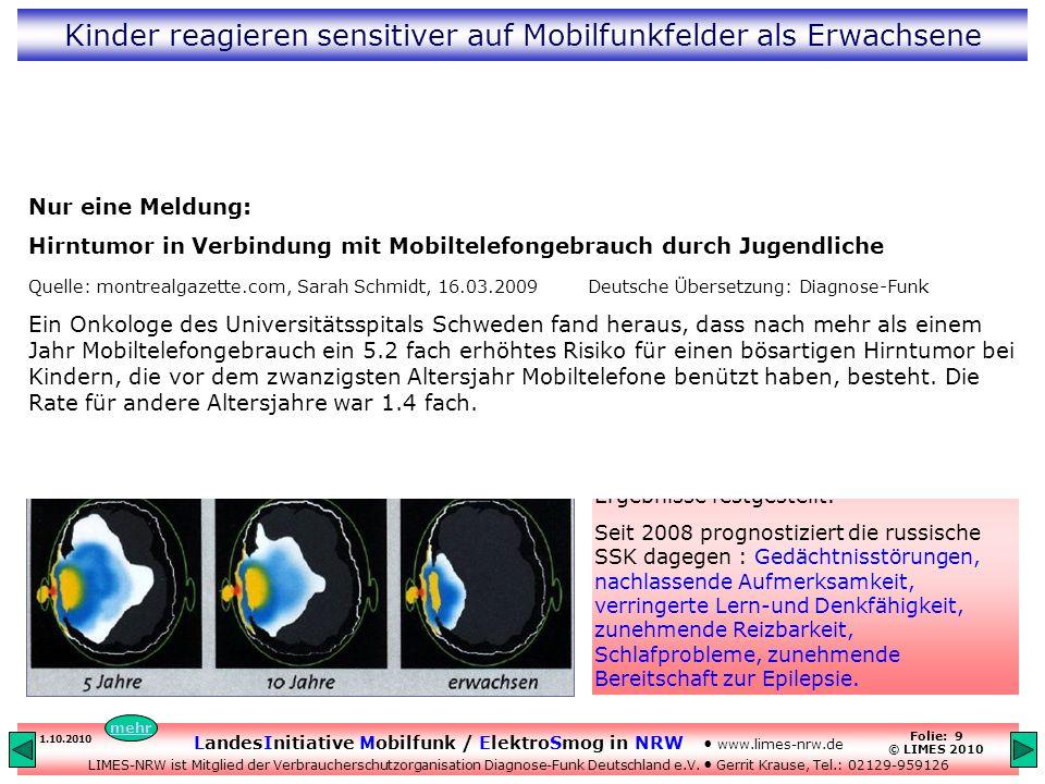 LandesInitiative Mobilfunk / ElektroSmog in NRW www.limes-nrw.de LIMES-NRW ist Mitglied der Verbraucherschutzorganisation Diagnose-Funk Deutschland e.V.