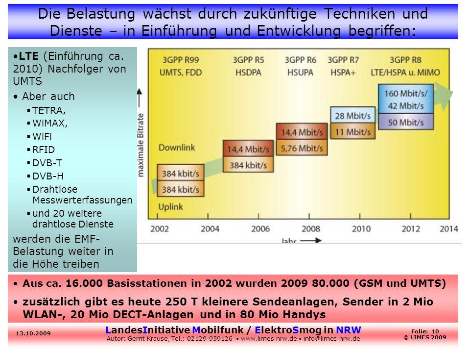 LandesInitiative Mobilfunk / ElektroSmog in NRW Autor: Gerrit Krause, Tel.: 02129-959126 www.limes-nrw.de info@limes-nrw.de 13.10.2009 Folie: 10 © LIM
