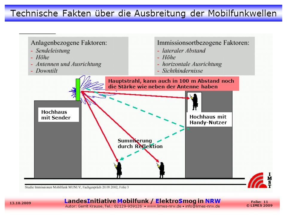 LandesInitiative Mobilfunk / ElektroSmog in NRW Autor: Gerrit Krause, Tel.: 02129-959126 www.limes-nrw.de info@limes-nrw.de 13.10.2009 Folie: 11 © LIM
