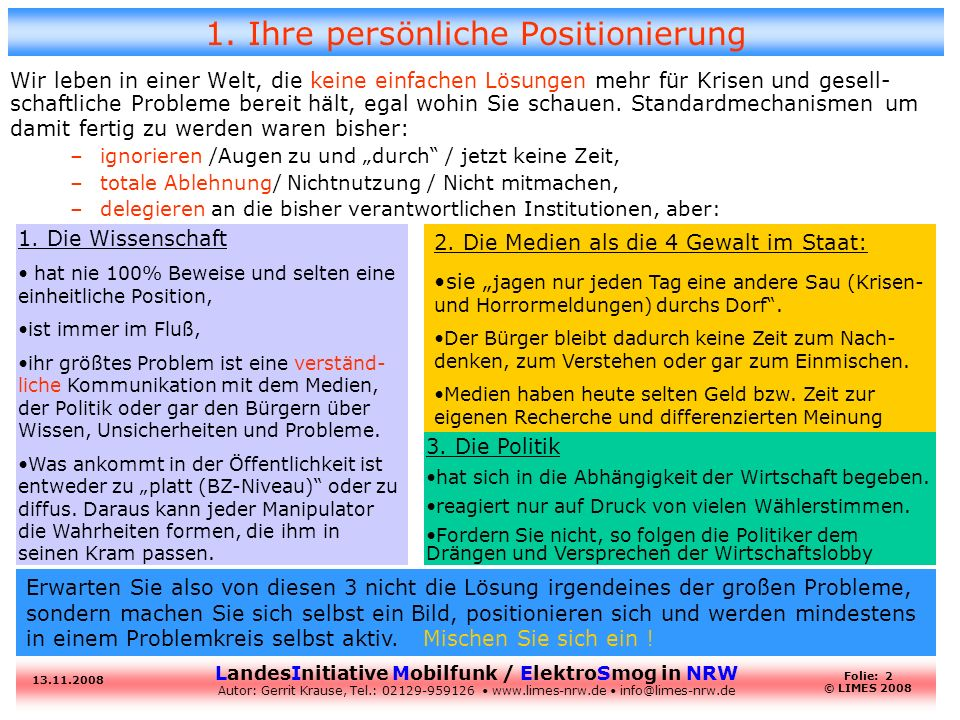 LandesInitiative Mobilfunk / ElektroSmog in NRW Autor: Gerrit Krause, Tel.: 02129-959126 www.limes-nrw.de info@limes-nrw.de 13.11.2008 Folie: 2 © LIMES 2008 1.