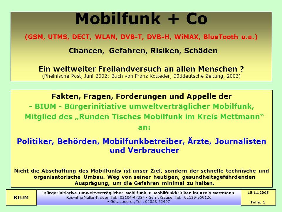 BIUM 15.11.2005 Folie: 1 Bürgerinitiative umweltverträglicher Mobilfunk Mobilfunkkritiker im Kreis Mettmann Roswitha Müller-Krüger, Tel.: 02104-47334